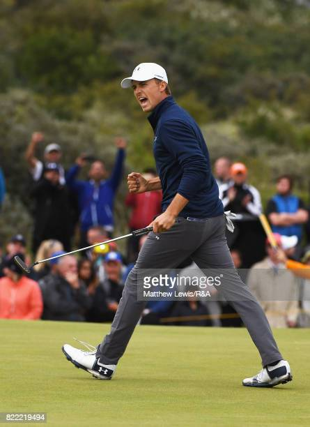 Jordan Spieth of the United States celebrates a putt on the 16th hole during the 146th Open Championship at Royal Birkdale on July 23 2017 in...