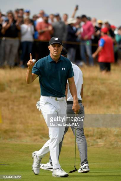 Jordan Spieth of the United States celebrates an eagle on the 1st hole during round three of the Open Championship at Carnoustie Golf Club on July 21...