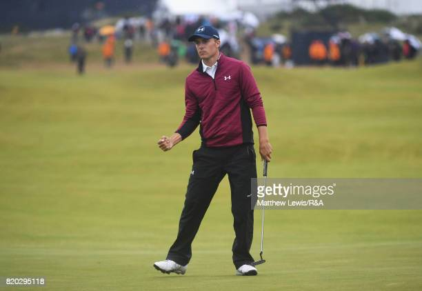 Jordan Spieth of the United States celebrates an eagle putt on the 15th hole during the second round of the 146th Open Championship at Royal Birkdale...