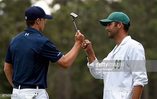 Jordan Spieth of the United States celebrates his birdie on the 10th hole during the final round of the 2015 Masters at Augusta National Golf Club on...