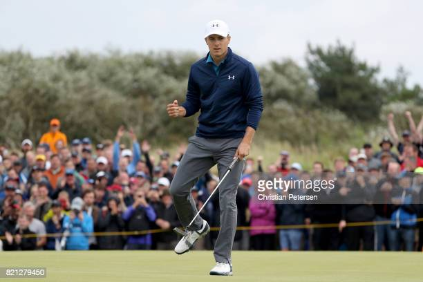 Jordan Spieth of the United States celebrates his birdie putt on the 16th hole during the final round of the 146th Open Championship at Royal...