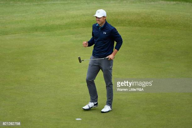 Jordan Spieth of the United States celebrates his victory on the 18th green during the final round of the 146th Open Championship at Royal Birkdale...