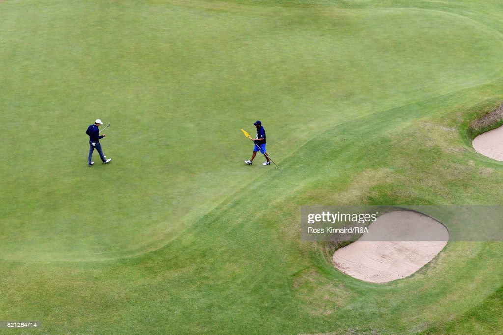 Jordan Spieth of the United States celebrates his victory on the 18th green during the final round of the 146th Open Championship at Royal Birkdale on July 23, 2017 in Southport, England.