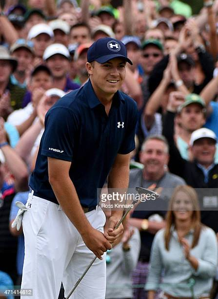 Jordan Spieth of the United States celebrates on the 18th green after winning the 2015 Masters at Augusta National Golf Club on April 12 2015 in...