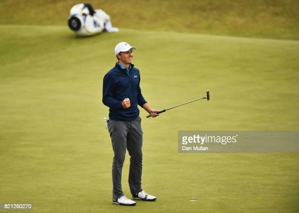 Jordan Spieth of the United States celebrates victory after the winning putt on the 18th green during the final round of the 146th Open Championship...