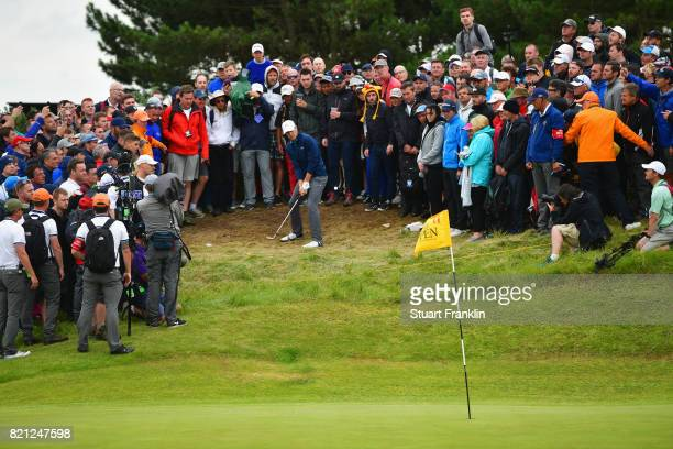 Jordan Spieth of the United States chips onto the 11th green during the final round of the 146th Open Championship at Royal Birkdale on July 23 2017...