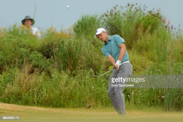 Jordan Spieth of the United States chips onto the green during the final round of the 50th annual ATT Byron Nelson on May 20 2018 at Trinity Forest...