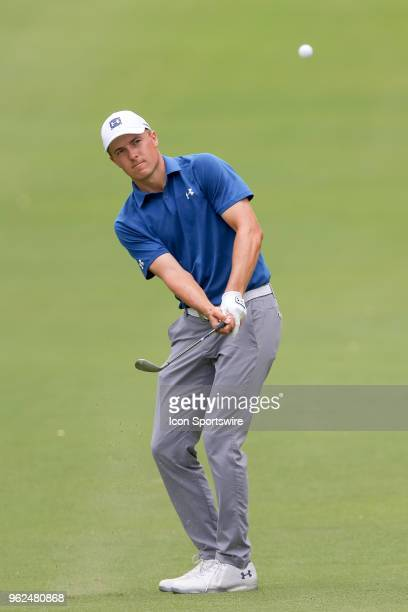 Jordan Spieth of the United States chips onto the green during the second round of the Fort Worth Invitational on May 25 2018 at Colonial Country...