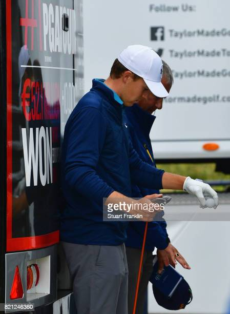Jordan Spieth of the United States considers a drop with a Rules Official on the 13th hole during the final round of the 146th Open Championship at...