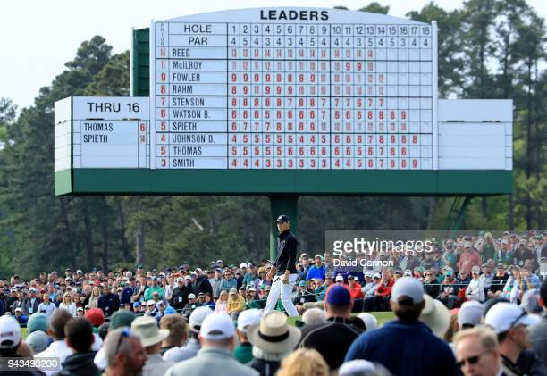 Jordan Spieth of the United States follows his putt on the 17th green during the final round of the 2018 Masters Tournament at Augusta National Golf...