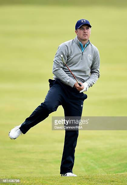 Jordan Spieth of the United States follows his second shot on the fifth hole during the final round of the 144th Open Championship at The Old Course...