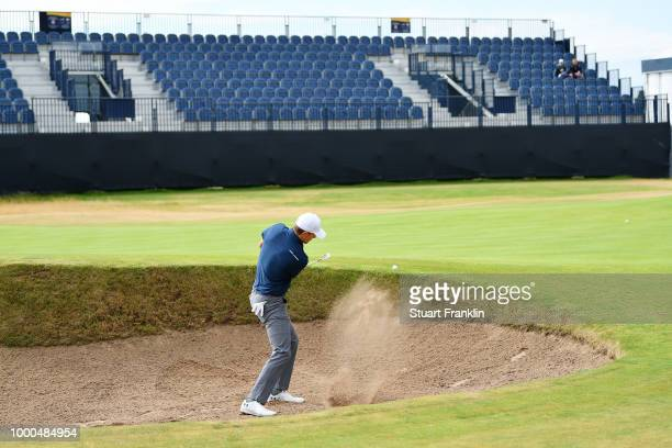 Jordan Spieth of the United States hits a bunker shot during previews to the 147th Open Championship at Carnoustie Golf Club on July 17 2018 in...
