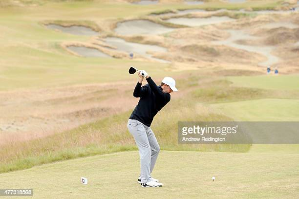 Jordan Spieth of the United States hits a tee shot during a practice round prior to the start of the 115th US Open Championship at Chambers Bay on...