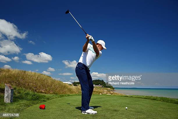 Jordan Spieth of the United States hits a tee shot during a practice round prior to the 2015 PGA Championship at Whistling Straits on August 12 2015...