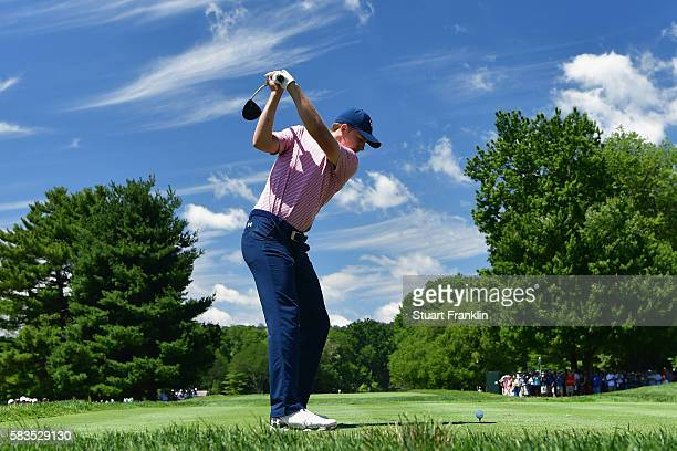 Jordan Spieth of the United States hits a tee shot during a practice round prior to the 2016 PGA Championship at Baltusrol Golf Club on July 26, 2016...