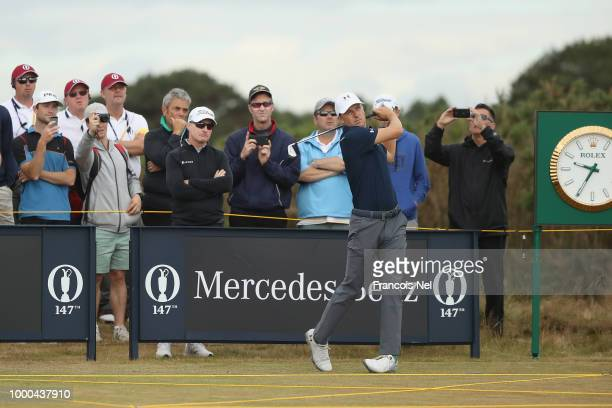 Jordan Spieth of the United States hits a tee shot during previews to the 147th Open Championship at Carnoustie Golf Club on July 17 2018 in...