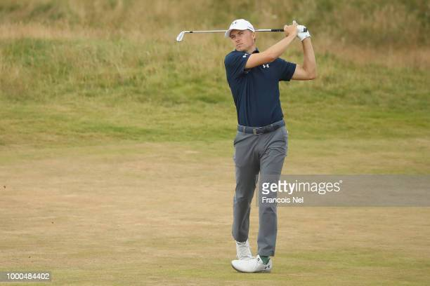 Jordan Spieth of the United States hits an approach shot during previews to the 147th Open Championship at Carnoustie Golf Club on July 17 2018 in...