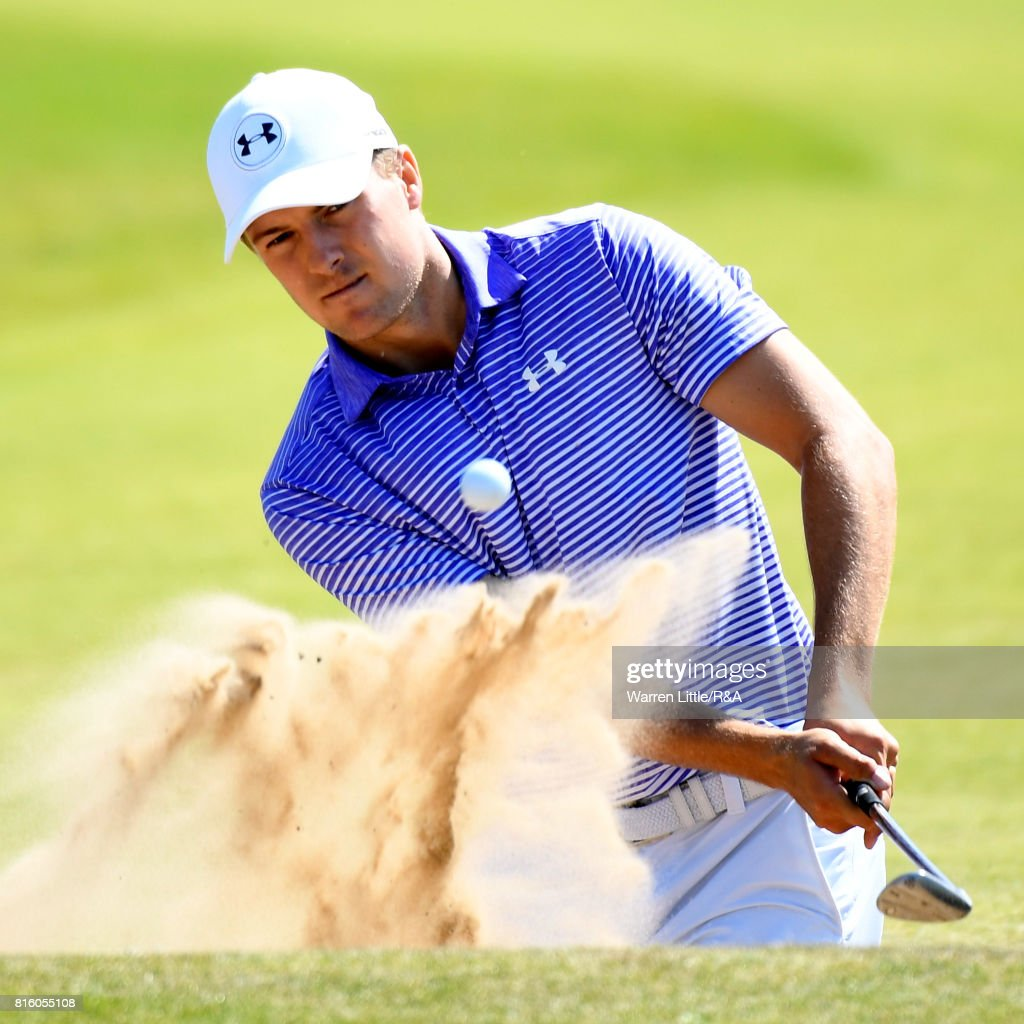 Jordan Spieth of the United States hits from a bunker during a practice round prior to the 146th Open Championship at Royal Birkdale on July 17, 2017 in Southport, England.