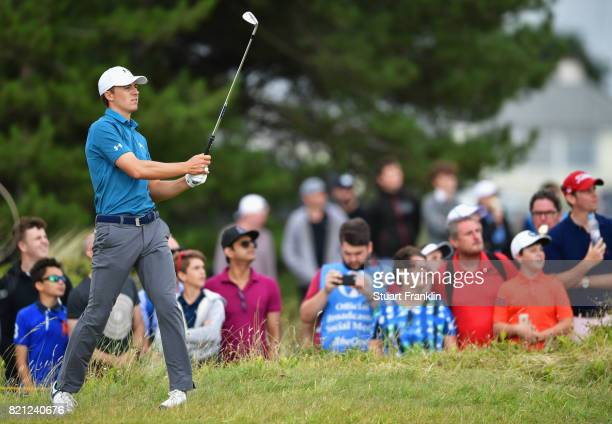 Jordan Spieth of the United States hits from the rough during the final round of the 146th Open Championship at Royal Birkdale on July 23 2017 in...