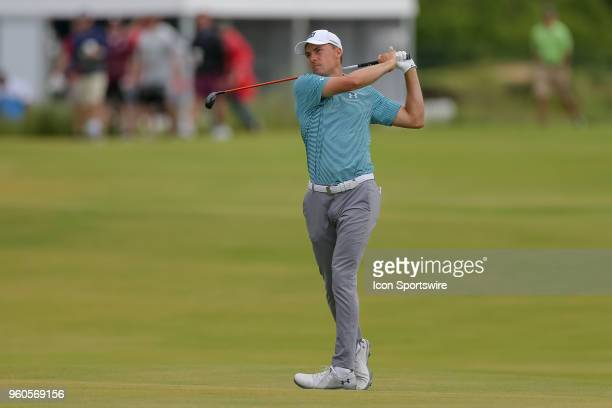 Jordan Spieth of the United States hits his approach shot on during the final round of the 50th annual ATT Byron Nelson on May 20 2018 at Trinity...