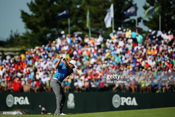 Jordan Spieth of the United States hits his second shot on the 18th hole during the second round of the 2015 PGA Championship at Whistling Straits on...