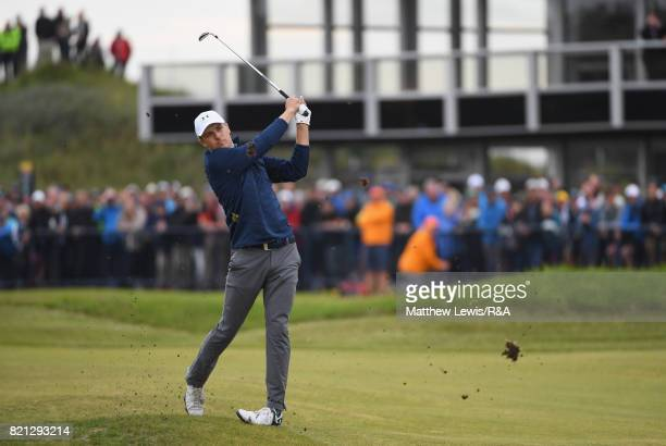 Jordan Spieth of the United States hits his second shot on the 18th hole during the final round of the 146th Open Championship at Royal Birkdale on...