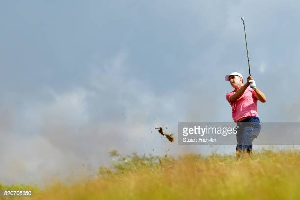Jordan Spieth of the United States hits his second shot on the 1st hole during the third round of the 146th Open Championship at Royal Birkdale on...