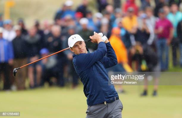 Jordan Spieth of the United States hits his second shot to the 15th hole during the final round of the 146th Open Championship at Royal Birkdale on...