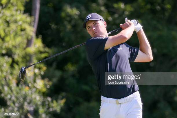 Jordan Spieth of the United States hits his tee shot on during the second round of the 50th anniversary AT&T Byron Nelson on May 18, 2018 at Trinity...