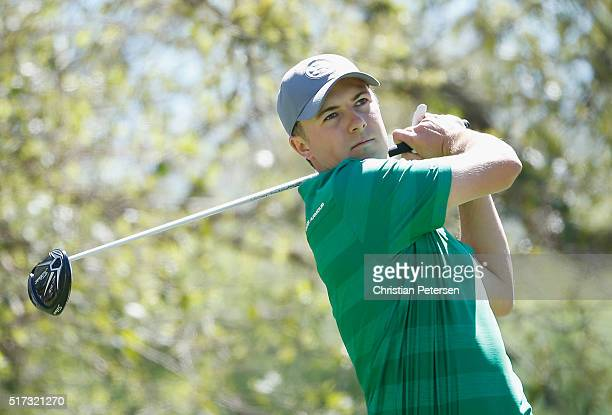 Jordan Spieth of the United States hits his tee shot on the 12th hole during the second round of the World Golf ChampionshipsDell Match Play at the...