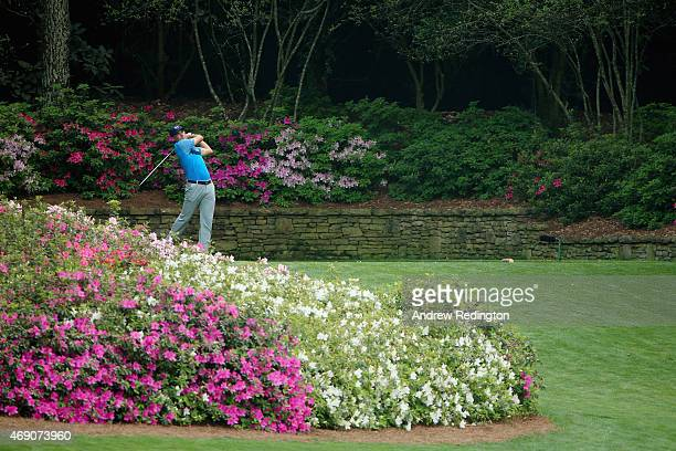 Jordan Spieth of the United States hits his tee shot on the 13th hole during the first round of the 2015 Masters Tournament at Augusta National Golf...