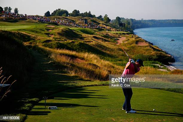 Jordan Spieth of the United States hits his tee shot on the 13th hole during the third round of the 2015 PGA Championship at Whistling Straits on...