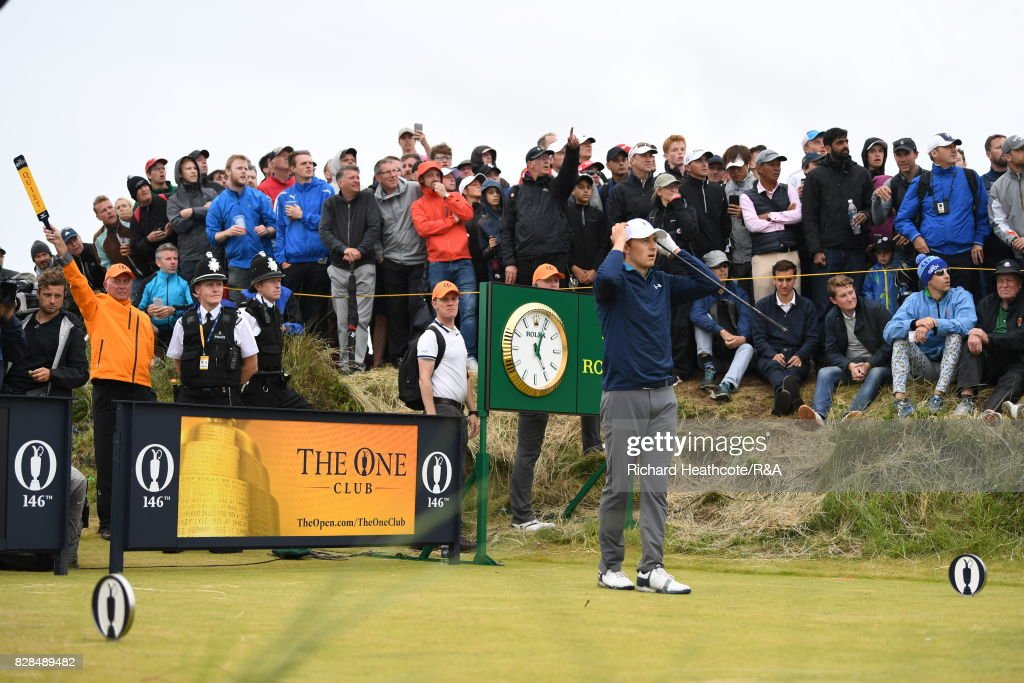 Jordan Spieth of the United States hits his tee shot on the 13th hole during the final round of the 146th Open Championship at Royal Birkdale on July 23, 2017 in Southport, England.