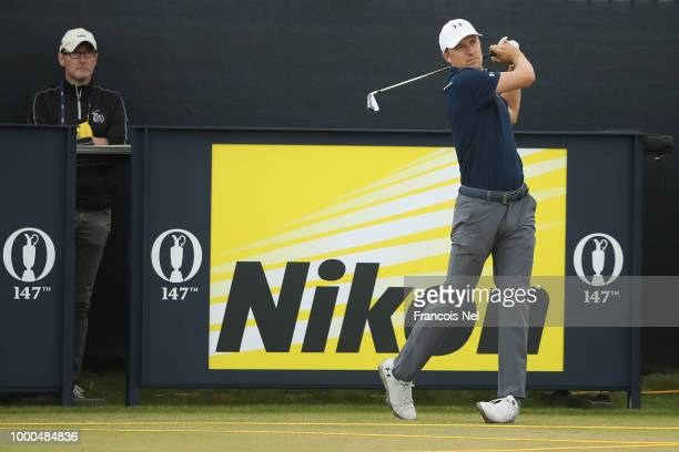 Jordan Spieth of the United States hits his tee shot on the 16th hole during previews to the 147th Open Championship at Carnoustie Golf Club on July...