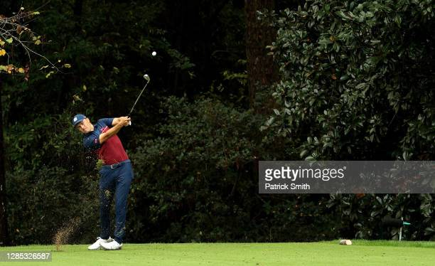 Jordan Spieth of the United States hits his tee shot on the 16th hole during the first round of the Masters at Augusta National Golf Club on November...