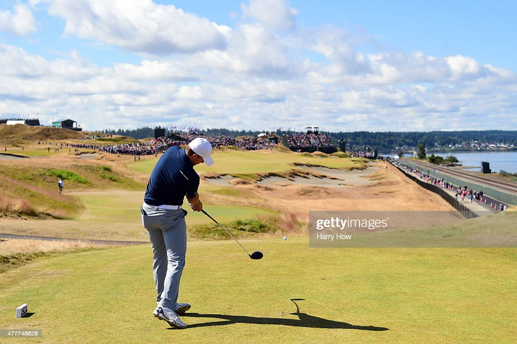 Jordan Spieth of the United States hits his tee shot on the 16th hole during the second round of the 115th U.S. Open Championship at Chambers Bay on June 19, 2015 in University Place, Washington.