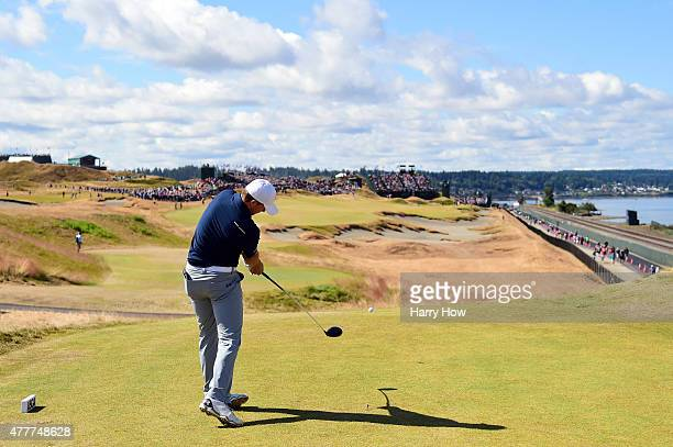 Jordan Spieth of the United States hits his tee shot on the 16th hole during the second round of the 115th US Open Championship at Chambers Bay on...