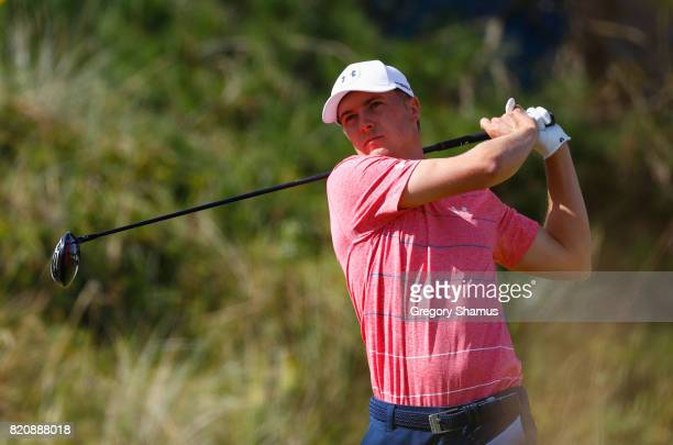 Jordan Spieth of the United States hits his tee shot on the 6th hole during the third round of the 146th Open Championship at Royal Birkdale on July...