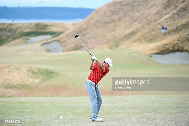 Jordan Spieth of the United States hits his tee shot on the first hole during the first round of the 115th US Open Championship at Chambers Bay on...