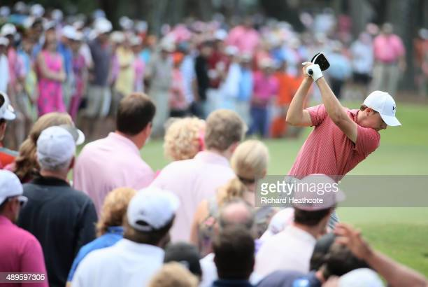 Jordan Spieth of the United States hits his tee shot on the ninth hole during the final round of THE PLAYERS Championship on The Stadium Course at...