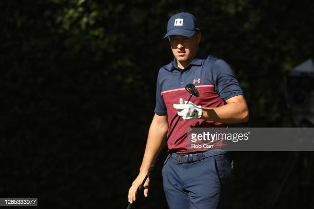 Jordan Spieth of the United States hits his tee shot on the second hole during the first round of the Masters at Augusta National Golf Club on...