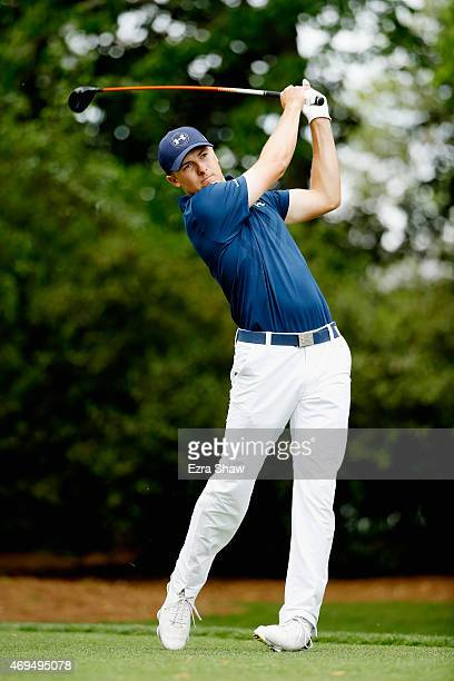 Jordan Spieth of the United States hits his tee shot on the second hole during the final round of the 2015 Masters Tournament at Augusta National...
