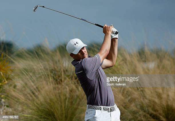 Jordan Spieth of the United States hits his tee shot on the second hole during the first round of the Hero World Challenge at Albany The Bahamas on...