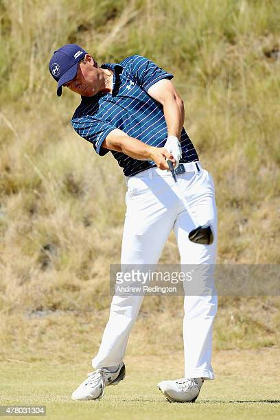 Jordan Spieth of the United States hits his tee shot on the sixth hole during the final round of the 115th US Open Championship at Chambers Bay on...