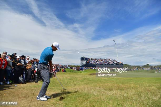Jordan Spieth of the United States hits his third shot from the rough on the 1st hole during the final round of the 146th Open Championship at Royal...