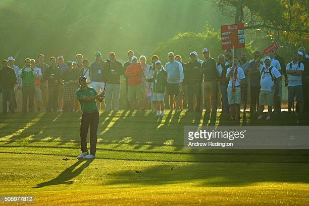 Jordan Spieth of the United States hits his third shot on the 10th hole during the first round of the Abu Dhabi HSBC Golf Championship at the Abu...