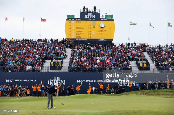 Jordan Spieth of the United States hits his third shot on the 18th green during the final round of the 146th Open Championship at Royal Birkdale on...