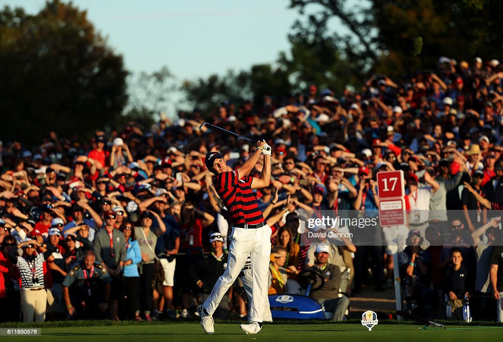 Jordan Spieth of the United States hits off the 17th tee during afternoon fourball matches of the 2016 Ryder Cup at Hazeltine National Golf Club on October 1, 2016 in Chaska, Minnesota.