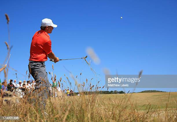 Jordan Spieth of the United States hits out of the rough on the 15th during the second round of the 142nd Open Championship at Muirfield on July 19...