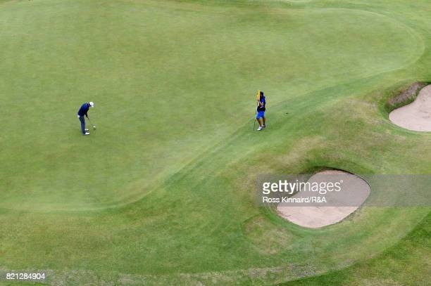 Jordan Spieth of the United States hits the winning putt on the 18th green during the final round of the 146th Open Championship at Royal Birkdale on...